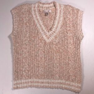Karen Scott Crochet Knit sweater vest women M pink